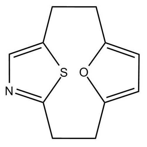 [2.2](2,5)Thiazolo(2,5)furanophane (13-oxa-14-thia-5-azatricyclo[8.2.1.1^(4,7)]tetradeca-4,6,10,12-tetraene)