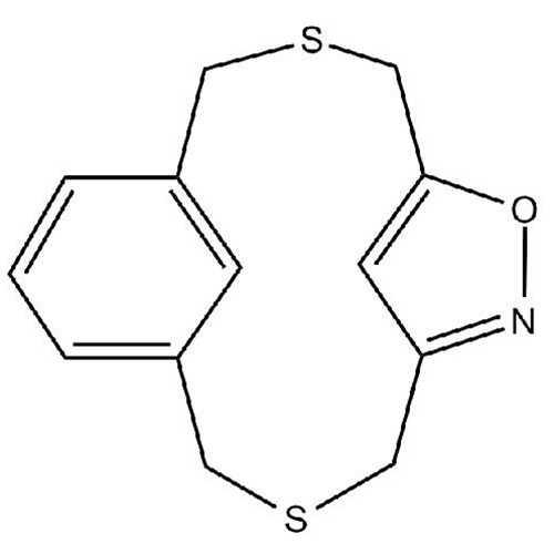 [3.3]Dithia(3,5)isoxazolo(1,3)metacyclophane (6-Oxa-3,10-dithia-7-azatricyclo[10.3.1.1^(5,8)]heptadeca-1(16),5(17),7,12,14-pentaene)